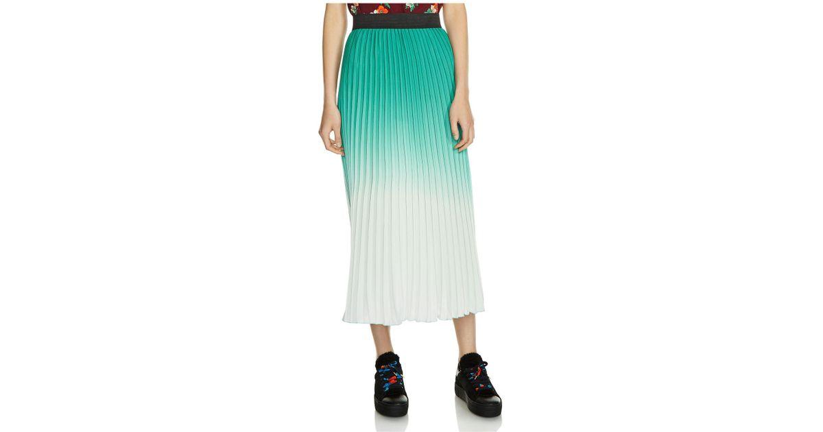 80980473b5 Maje Dégradé Pleated Crepe Midi Skirt in Green - Lyst