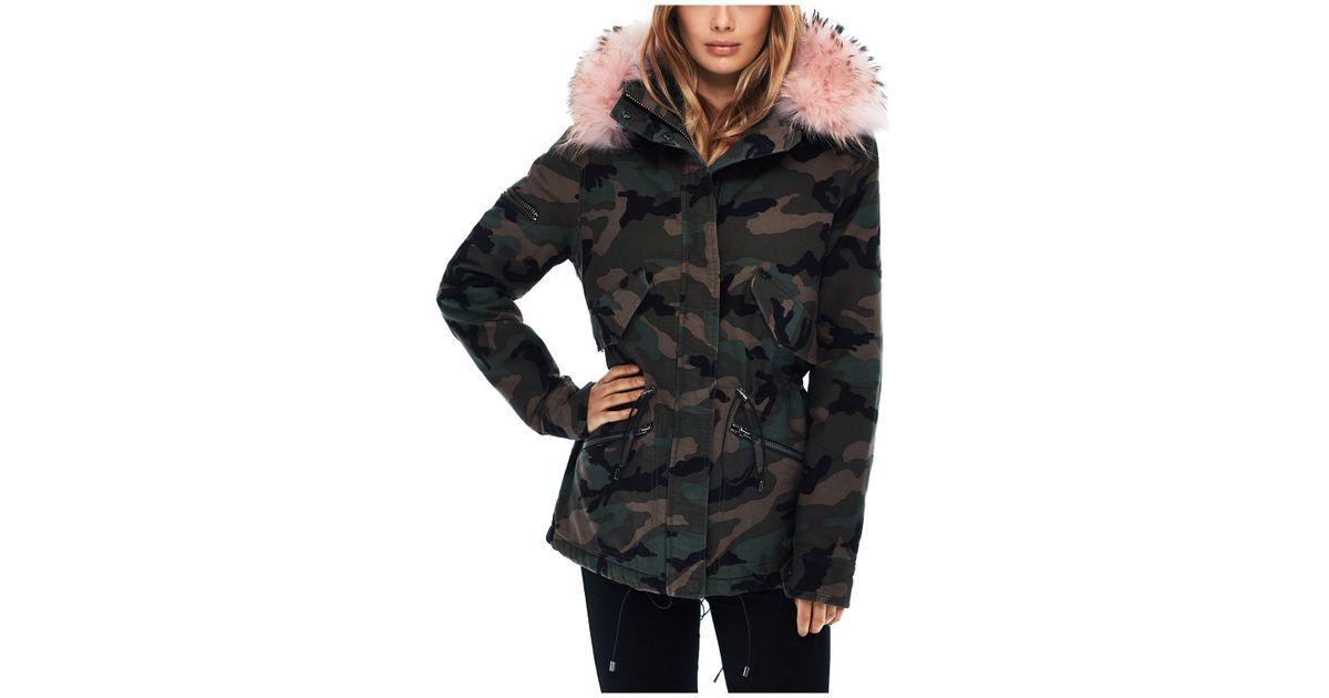dbcd6628624 Sam. Camo Twill Fur Trim Mini Hudson Parka in Black - Lyst