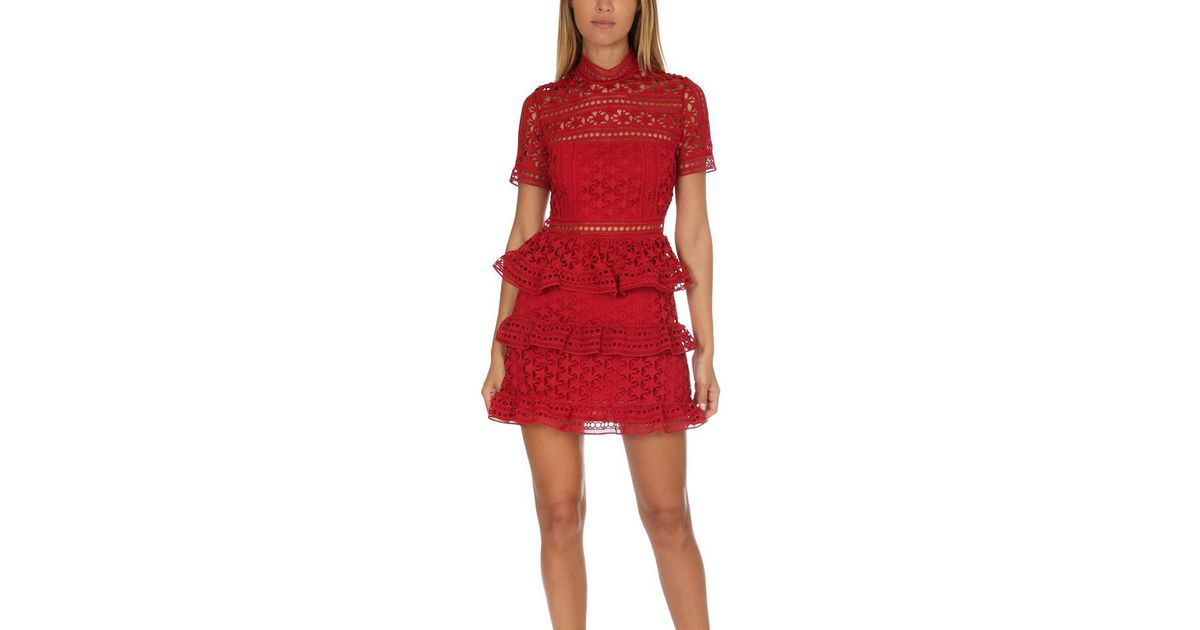 e0aee8b8210 Lyst - Self-Portrait High Neck Star Lace Panelled Dress in Red