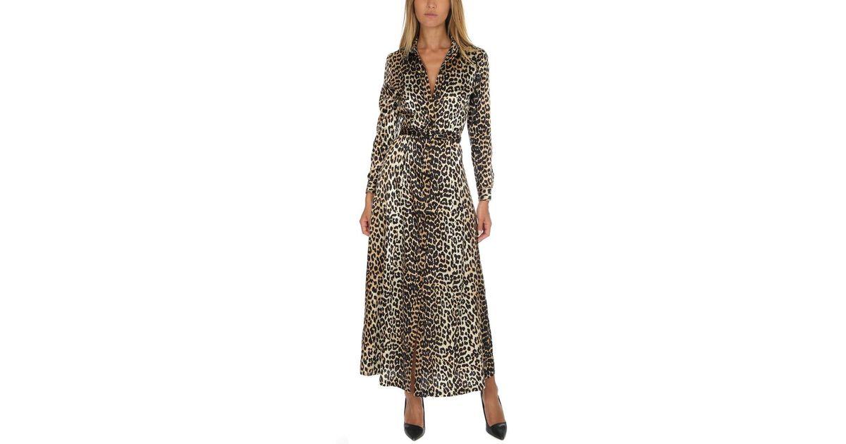 171c1897f77e Ganni Dufort Silk Maxi Dress Leopard - Lyst