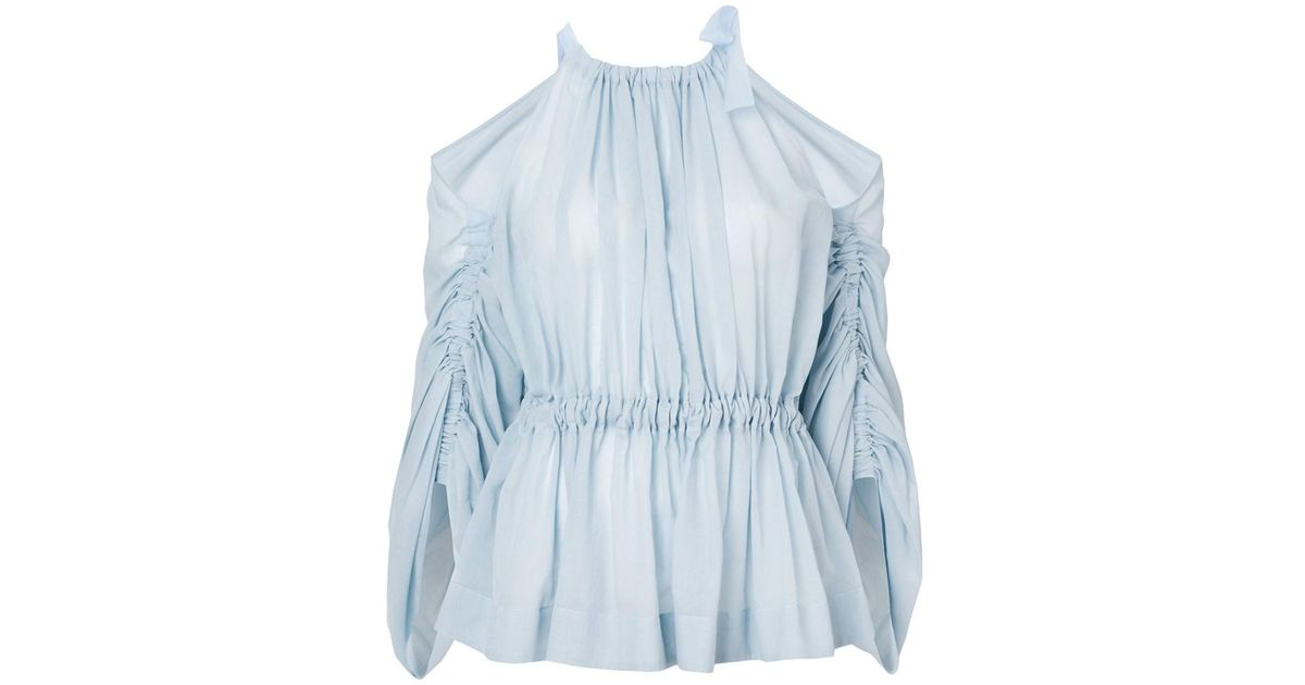 41d13f0405a6d ... Lyst Fendi Women s Light Blue Silk Blouse in Blue