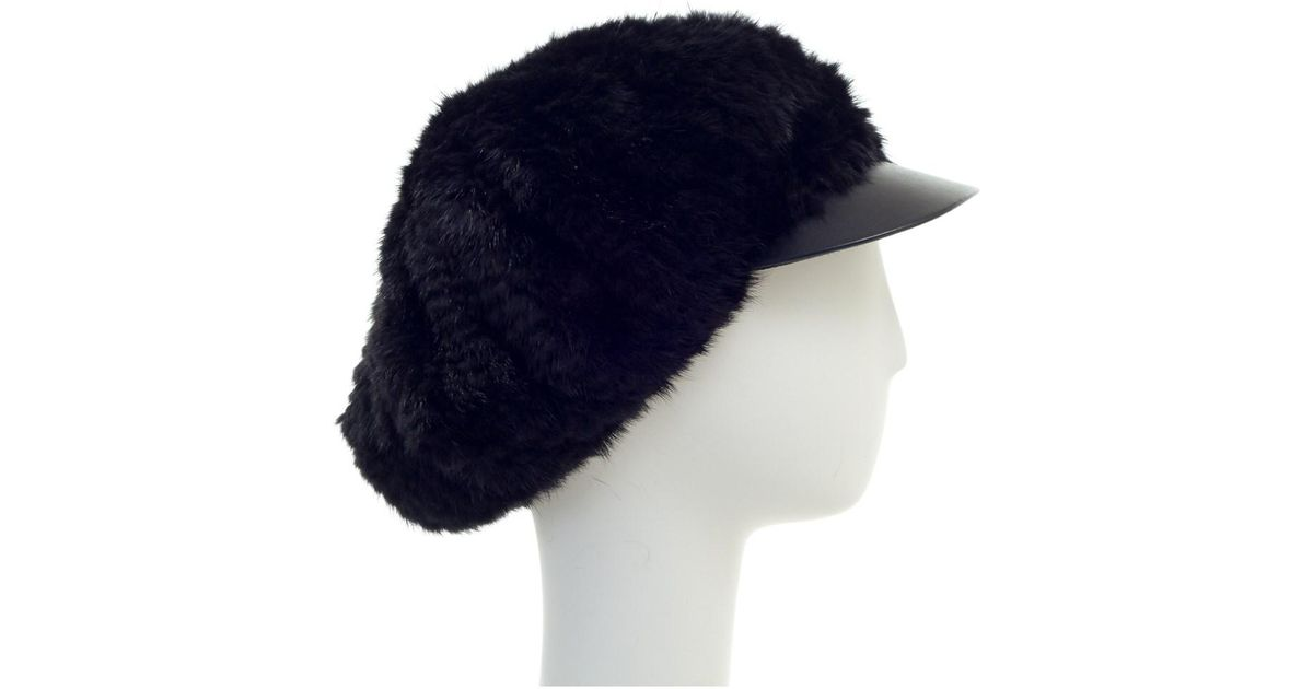 43a0f161f16 Lyst - Surell Mink Knitted Cabbie Hat With Visor in Black