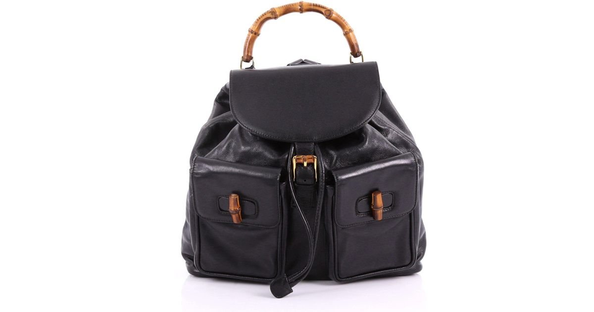 2ddaae4a6 Lyst - Gucci Pre Owned Vintage Bamboo Backpack Leather Medium in Black
