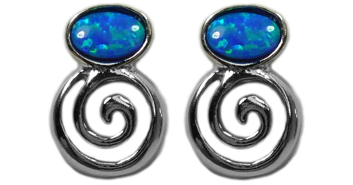 Lyst Jewelryaffairs Sterling Silver Greek Spiral Key With Synthetic Opal Earrings 10 X 14mm In Metallic