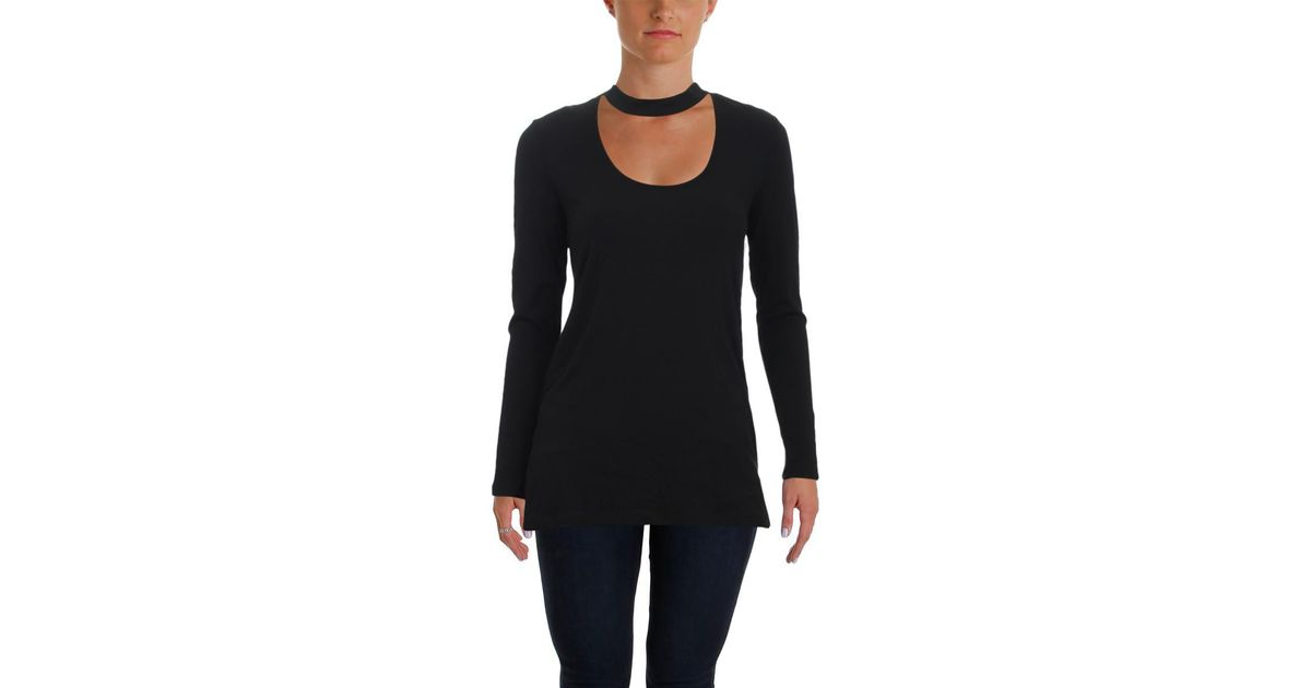 Lyst Vince Camuto Womens Mock Neck Choker Night Out Blouse In Black