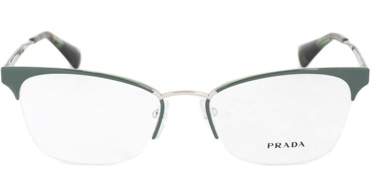Lyst - Prada Pr65qv Uei1o1 Cat Eye | Green/silver| Eyeglass Frames ...
