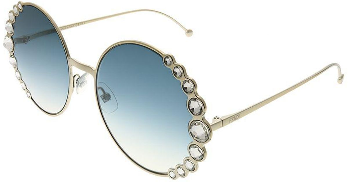 Fendi Ribbons And Crystals Ff 0324 3yg 08 Lgh Gold Round Sunglasses - Lyst 99fd75e214