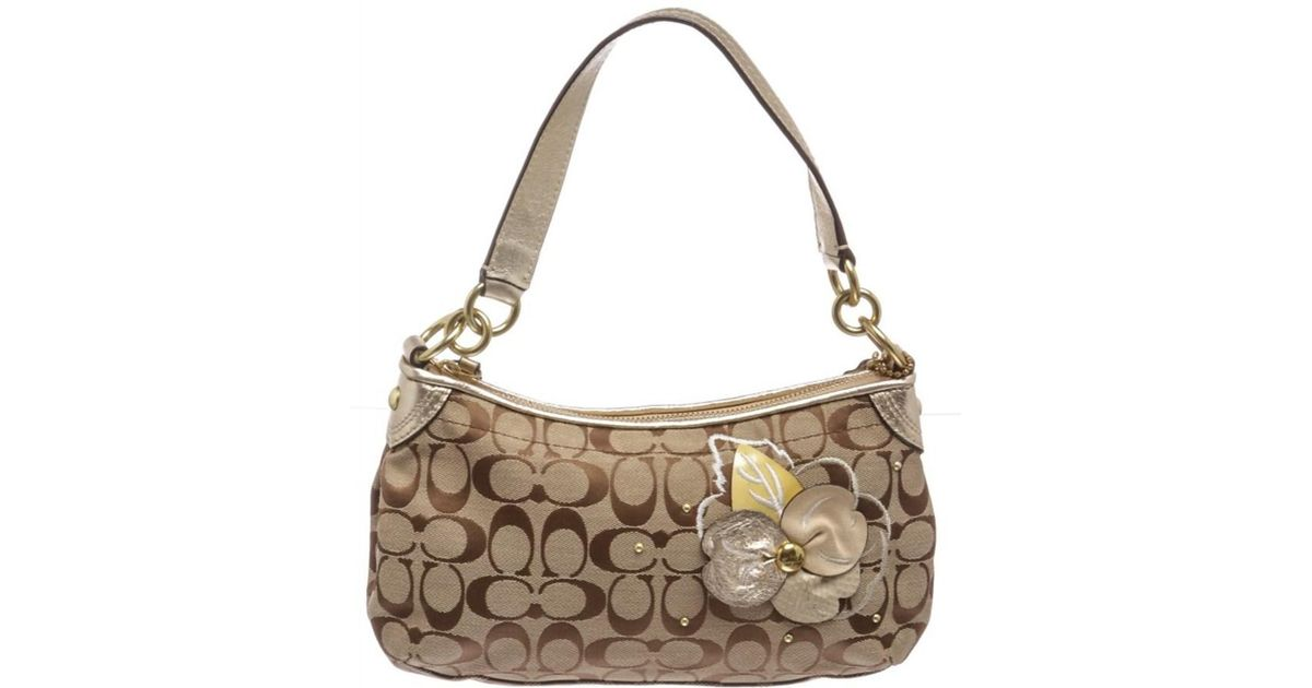 2f7c44cdecdd Lyst - Coach Pre Owned- Brown Gold Monogram Canvas Shoulder Handbag 16627  in Natural
