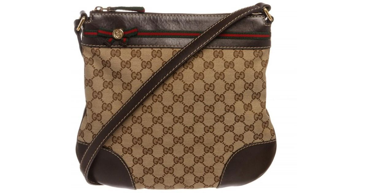 Lyst Gucci Pre Owned Beige Brown Mayfair Crossbody Messenger Bag In