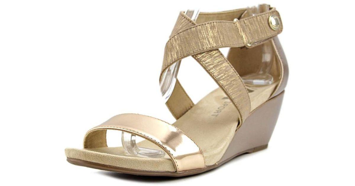 632c3a26c20 Lyst - Anne klein Crisscross Women Open Toe Canvas Bronze Wedge Heel in  Metallic
