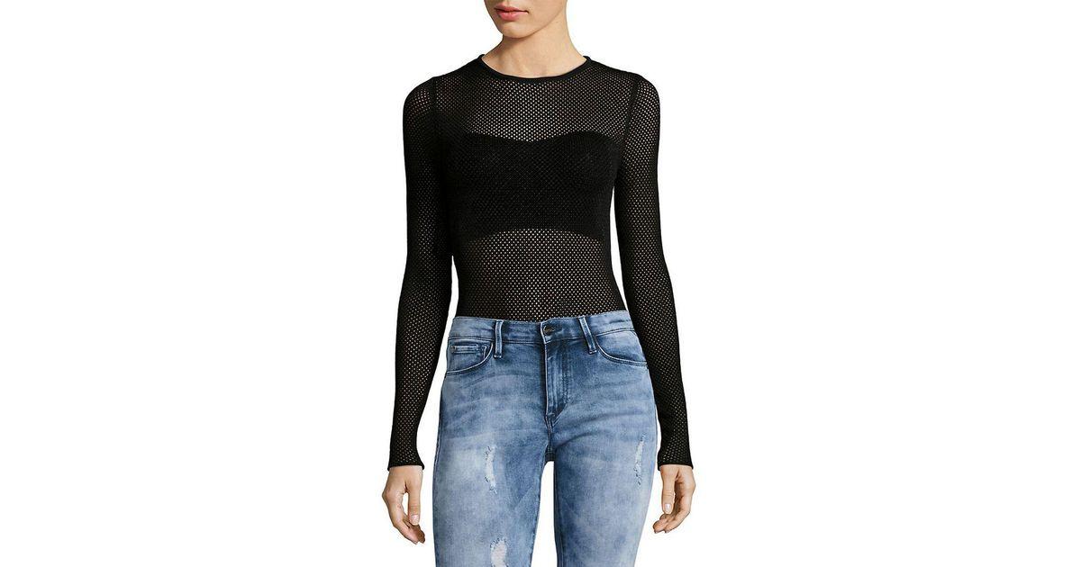 Lyst - Torn By Ronny Kobo Ronny Kobo Mesh Bodysuit in Black 8cbb362cf