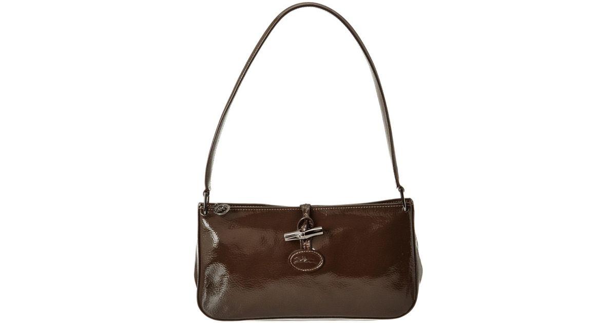 Lyst - Longchamp Roseau Verni Leather Shoulder Bag in Brown a121e781079d7
