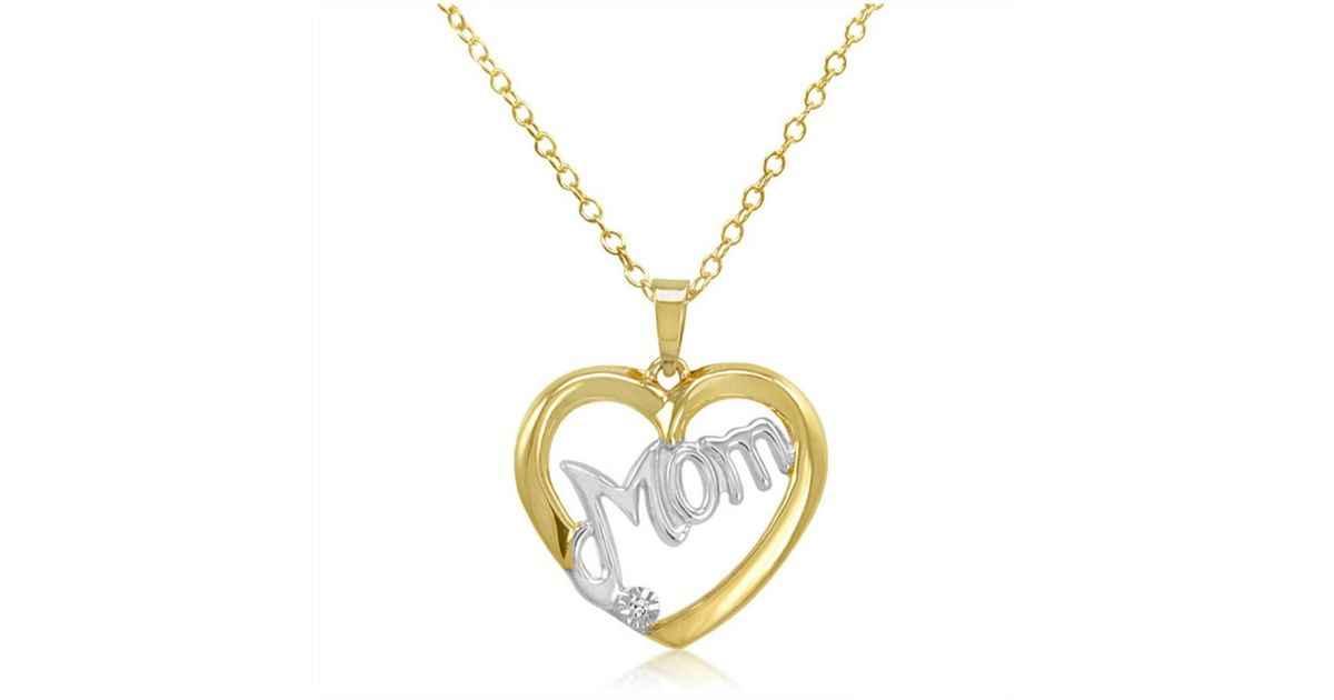 Lyst amanda rose collection two tone diamond mom heart pendant lyst amanda rose collection two tone diamond mom heart pendant necklace in gold flashed sterling silver in metallic mozeypictures Image collections