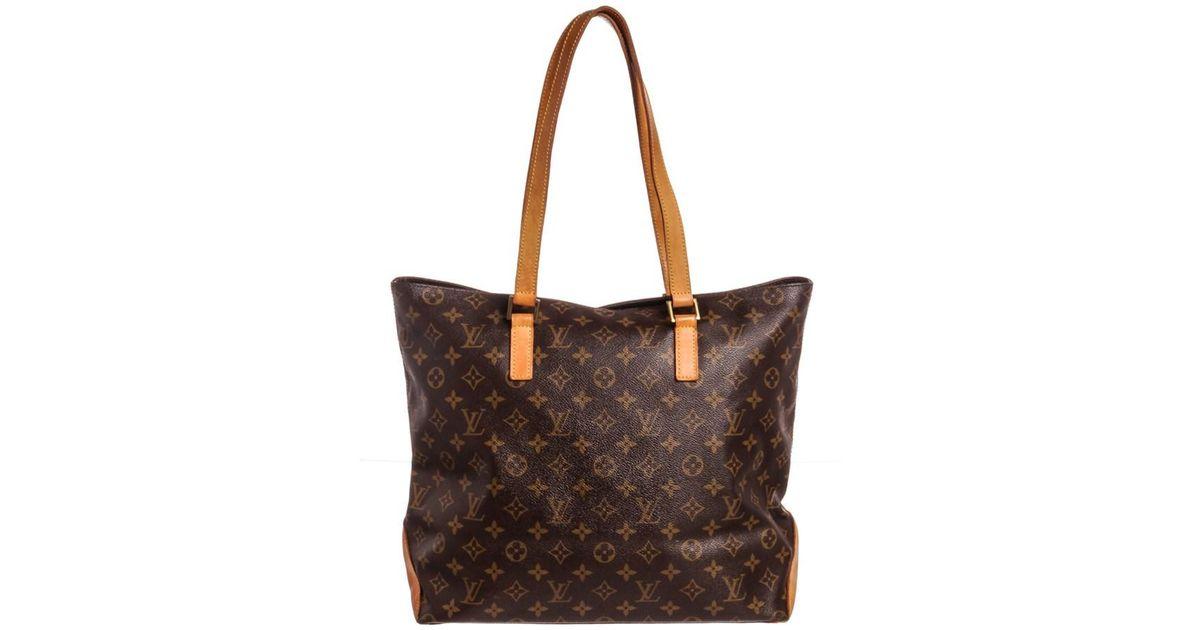 Lyst - Louis Vuitton Monogram Canvas Leather Cabas Mezzo Shoulder Bag in  Brown 4d5e1ff139dff