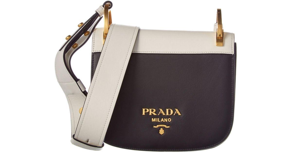 9c011b5d3d0f3c Lyst - Prada Pionniere Calf Leather Saddle Bag in White
