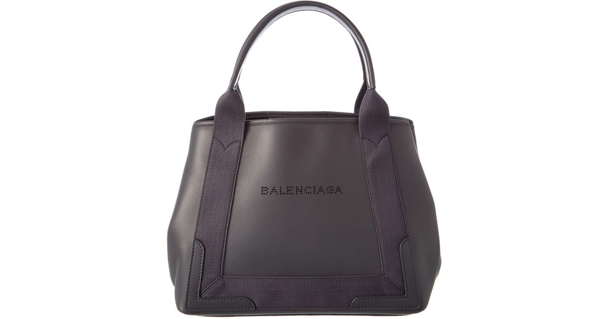 ee8c7c1ac41f Lyst - Balenciaga Navy Cabas S Canvas   Leather Tote in Gray