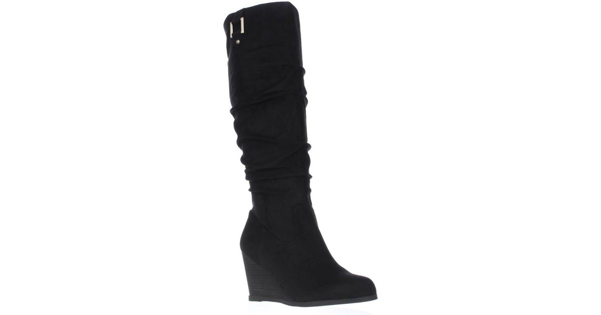 4869f1579e5 Lyst - Dr. Scholls Dr. Scholls Poe Wide Calf Slouch Wedge Boots - Black in  Black