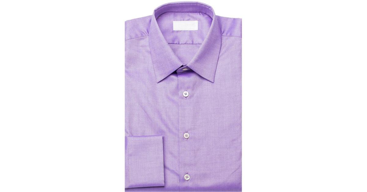 Prada men 39 s spread collar oxford cotton dress shirt lilac for Mens lilac dress shirt