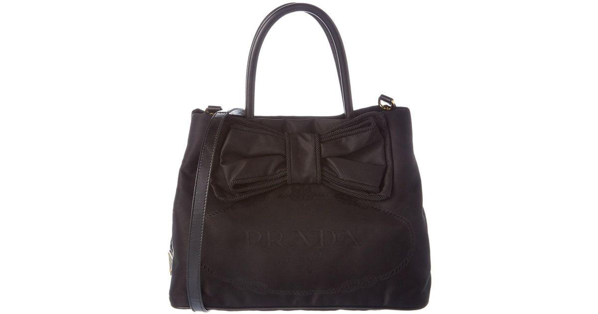 461a9cfa3eb7ef buy lyst prada nylon bow tote in black ad976 9ec59