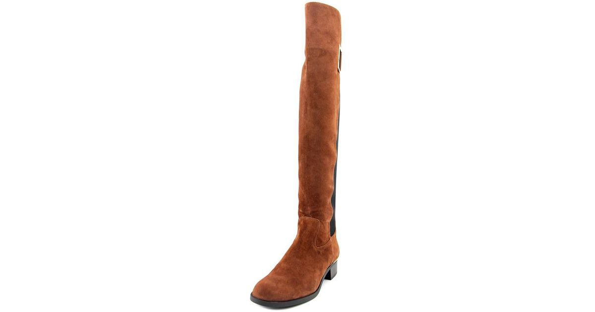 c6742400f5f Calvin Klein | Brown Cylan Round Toe Suede Over The Knee Boot | Lyst