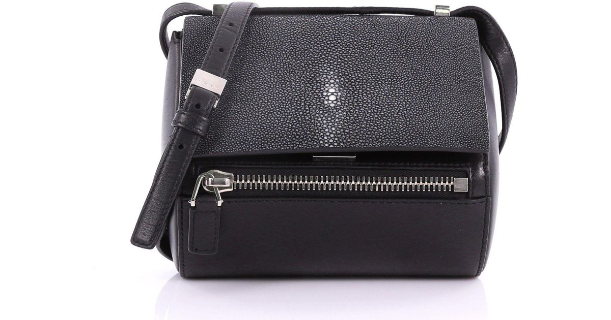 b4dccc9d182a Lyst - Givenchy Pre Owned Chain Pandora Box Handbag Stingray Mini in Black