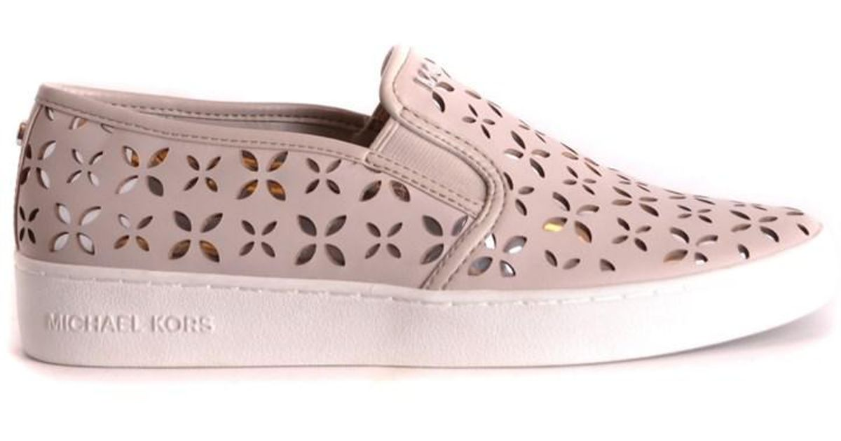 137abb010966e9 Lyst - Michael Kors Women s Pink Leather Slip On Sneakers in Pink