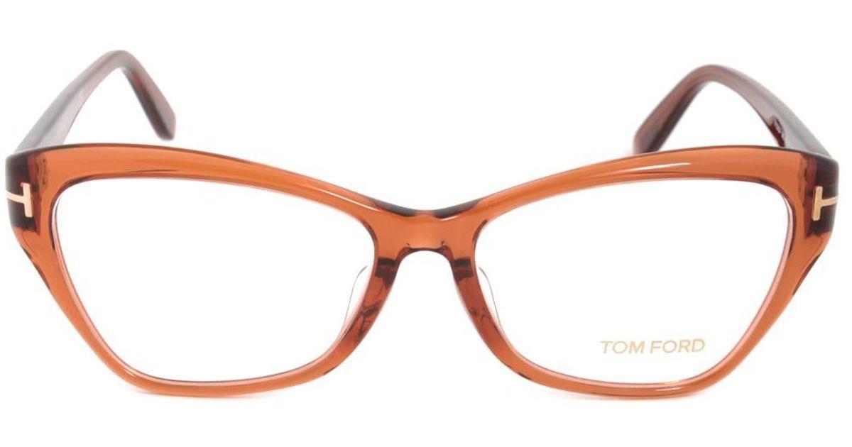 Lyst - Tom Ford Ft5376f 42 Cat Eye | Brownish Orange| Eyeglass ...