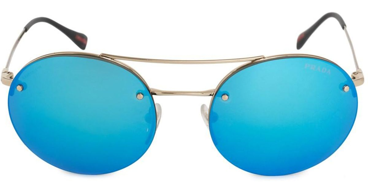 Lyst Prada Linea Rossa Pilot Round Sungl Ps54rs Zvn5m2 56 Pale Gold Metal Frame Blue Mirror Lenses In Metallic