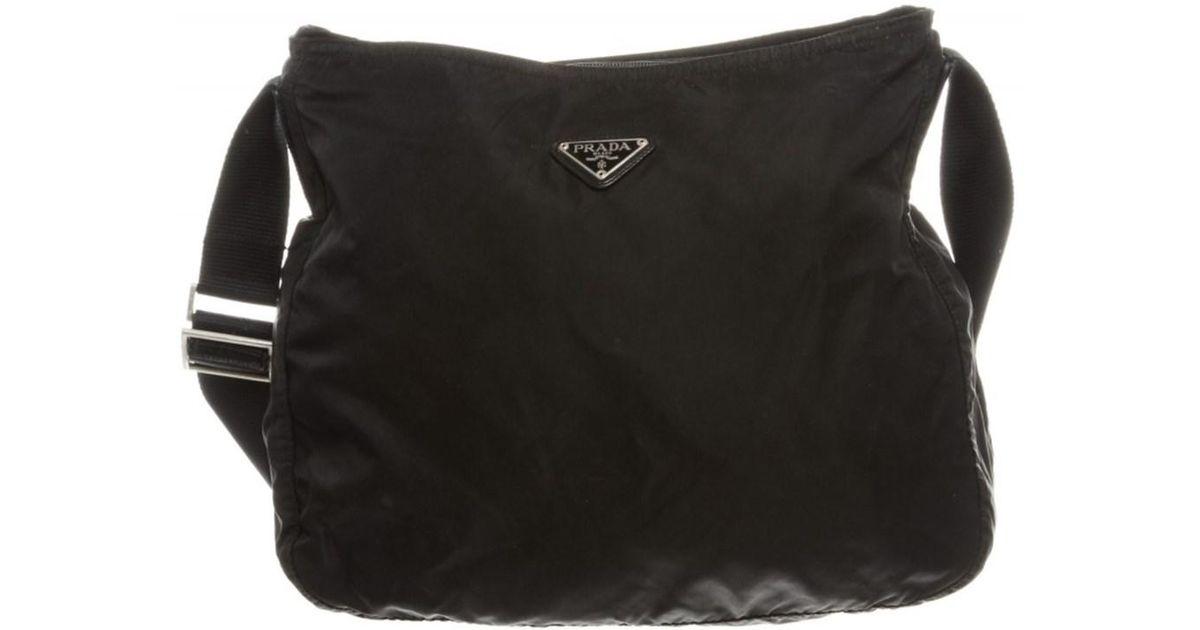64d3eec9b7c7 Lyst - Prada Pre Owned - Black Nylon Zip Top Shoulder Bag in Black