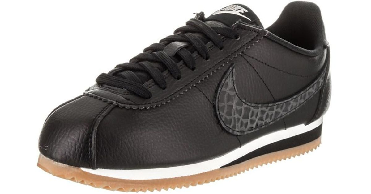 Lyst - Nike Women s Classic Cortez Leather Lux Casual Shoe in Black 438d048dc3