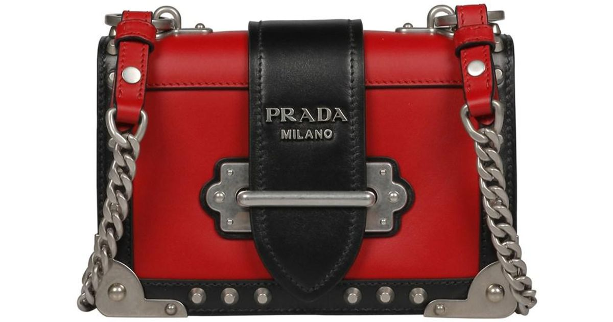 c40632bf51a0 ... netherlands lyst prada womens black red leather shoulder bag in black  1bade a4233