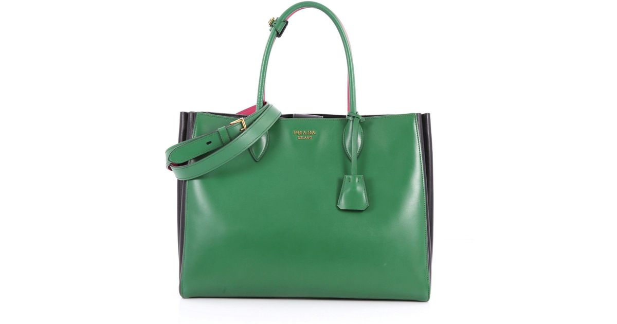 f86c55152a5f51 Lyst - Prada Pre Owned Soft Bibliotheque Handbag City Calfskin Large in  Green