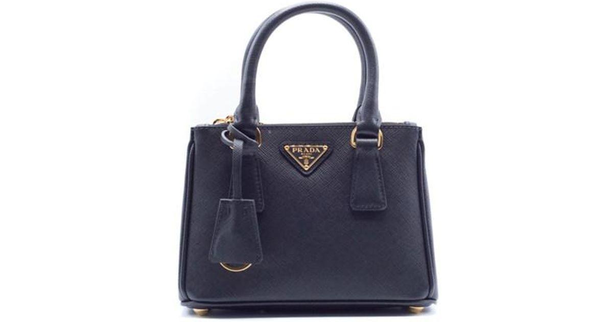 b2615f6ed769 cheapest lyst prada mini saffiano leather double zip tote black gold  hardware in black 5fcc3 f96a2
