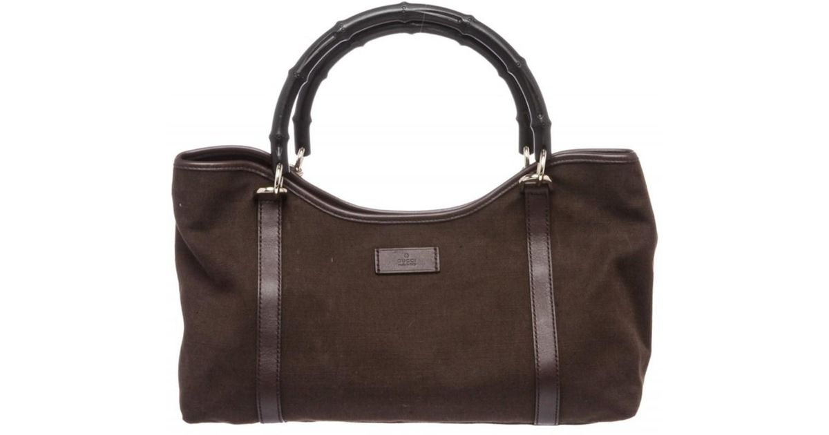 9433bf15e42dd Lyst - Gucci Pre Owned - Brown Fabric Leather Trim Bamboo Shoulder Bag in  Brown