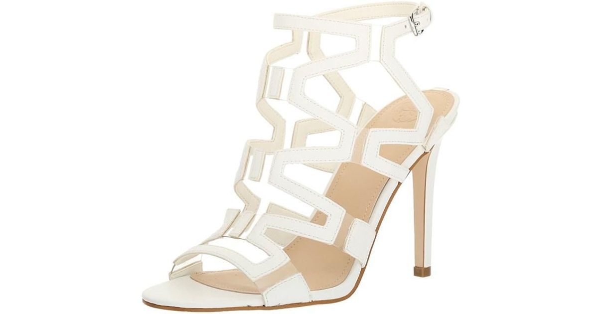 b81b7fd580e3 Lyst - Guess Womens Padton3 Leather Almond Toe Special Occasion Strappy  Sandals in White