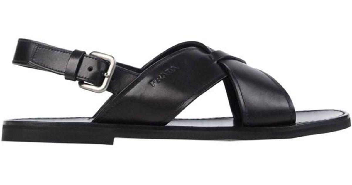 c925c94fb22a Lyst - Prada Men s 2x29973f33f0002 Black Leather Sandals in Black for Men