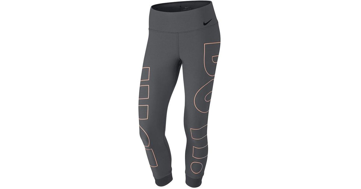 219f4c2a6772a7 Lyst - Nike Womens Cropped Tight Fit Athletic Leggings in Gray