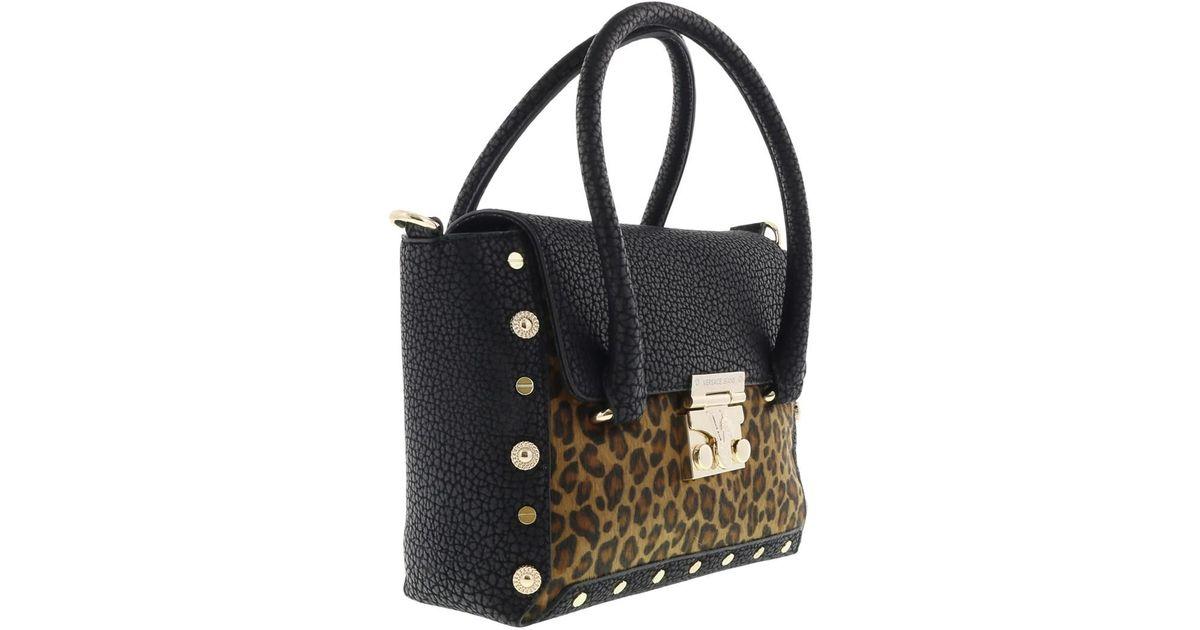 7f3c0be3a90d Versace Ee1vqbbm4 Emhx Square Top Handle Shoulder Bag Black leopard Satchel  Bag in Black - Lyst