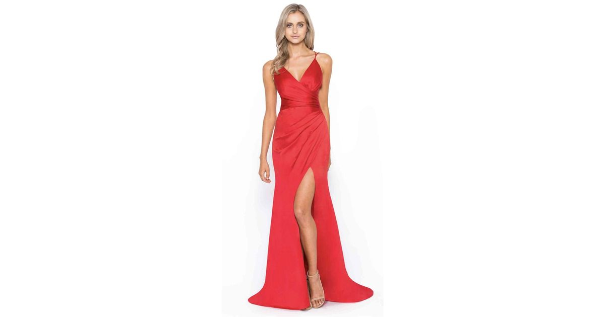 Lyst - Bariano Monroe Drape Satin Gown in Red