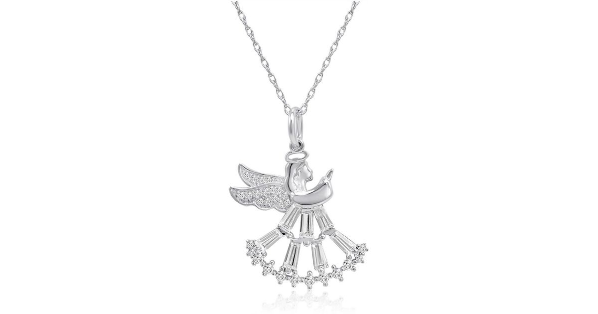 Lyst amanda rose collection sterling silver angel pendant necklace lyst amanda rose collection sterling silver angel pendant necklace made with cubic zirconia in metallic aloadofball Image collections
