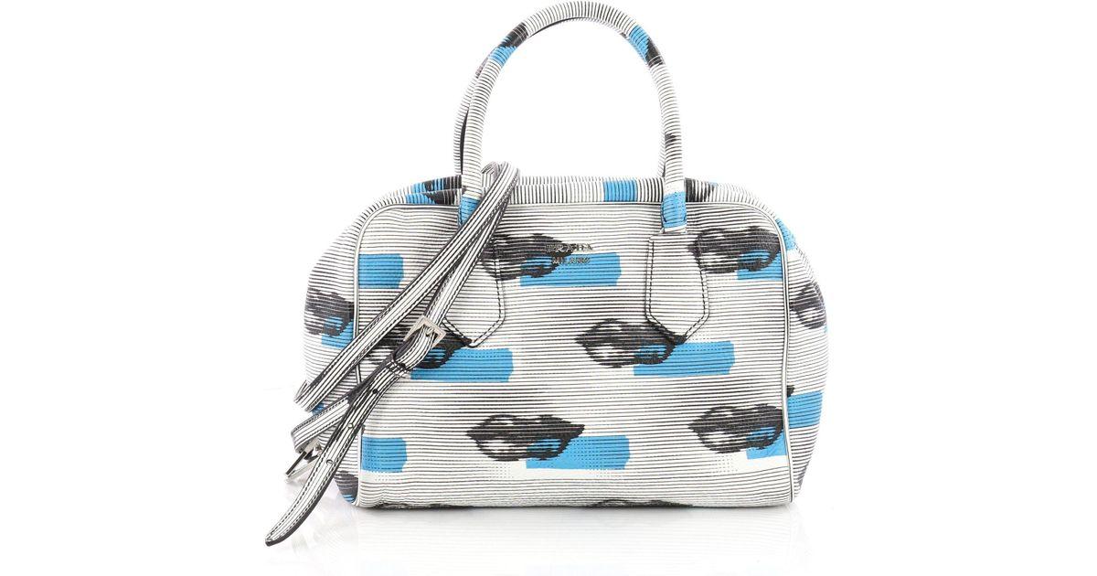 1bd3821718ce Lyst - Prada Inside Bauletto Bag Printed Vitello Daino Medium in Blue