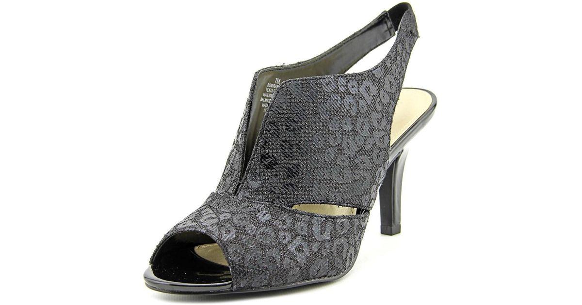 e116f8845db Lyst - Bandolino Mirabella Women Open-toe Canvas Black Slingback Heel in  Black