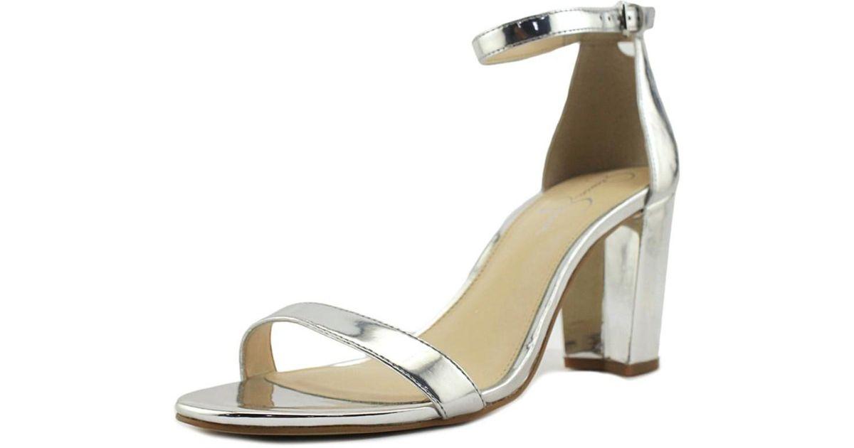 c0004bebe9d940 Lyst - Jessica Simpson Monrae Women Open-toe Synthetic Silver Heels in  Metallic