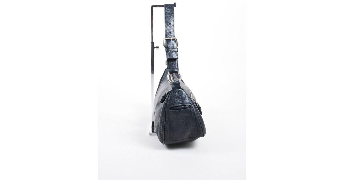 892292b45a9a Lyst - Prada 1 Black Pebble Leather Zip Front Pocket Shoulder Baguette Bag  in Black