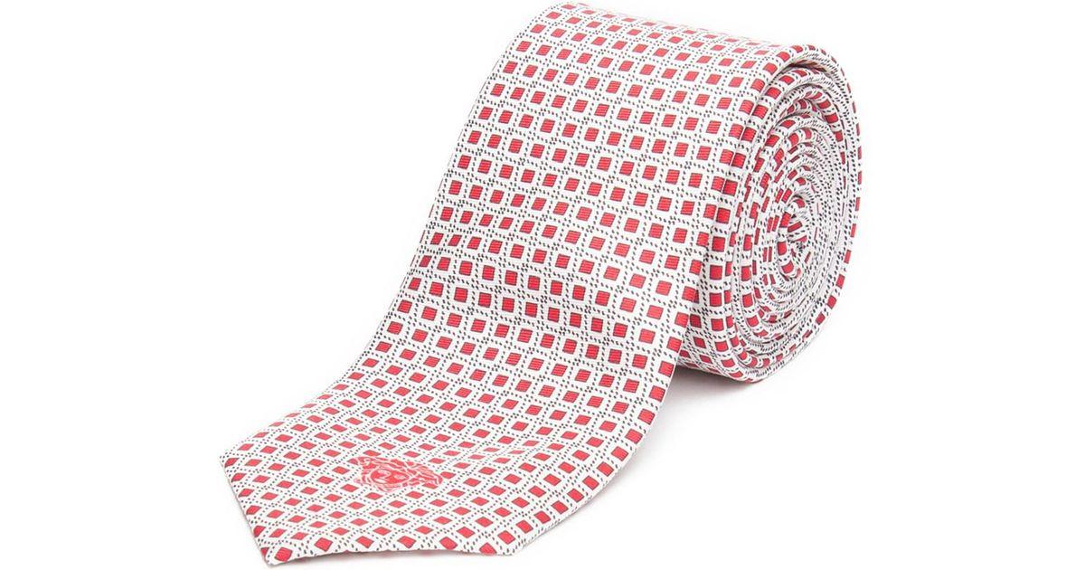 0e67818b Versace - Men's Slim Silk Medusa Patterned Tie Red White for Men - Lyst
