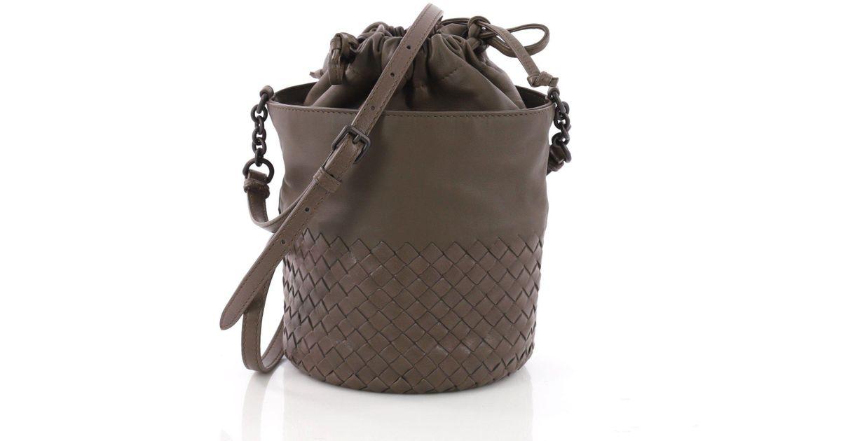 1f810b9f073c Lyst - Bottega Veneta Pre Owned Drawstring Bucket Bag Leather And Intrecciato  Nappa Small in Brown