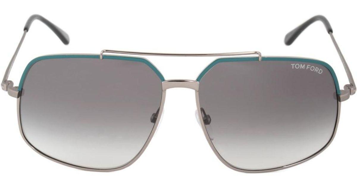 Lyst - Tom Ford Ronnie Sunglasses Ft0439 88b | Gunmetal/teal Frame ...