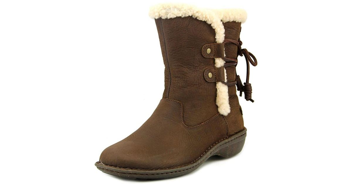 cc55c242329 Ugg - Brown Akadia Women Round Toe Leather Winter Boot - Lyst