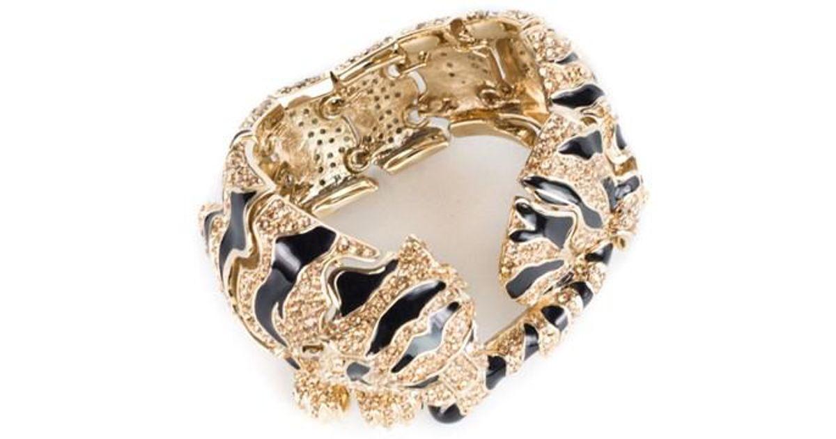 Lyst Roberto Cavalli Goldplated Swarovski Crystal Embld Tiger Bracelet In Metallic