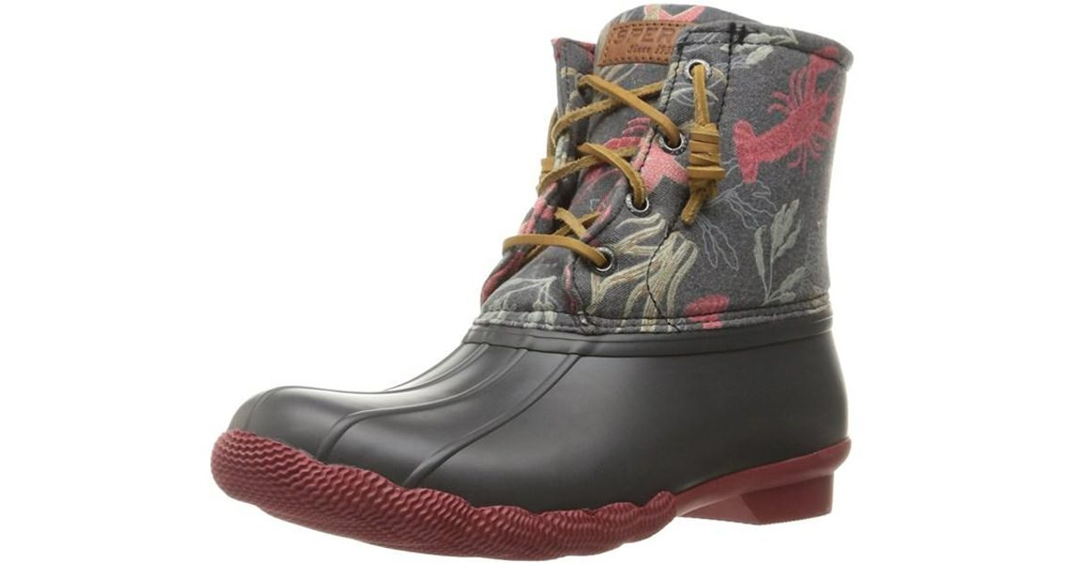 df644d6fd72c Lyst - Sperry Top-Sider Womens Saltwater Closed Toe Ankle Rainboots in Gray